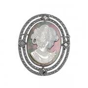 Серебряная брошь-камея с перламутром и марказитами
