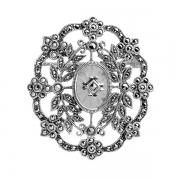 Серебряная брошь с кристаллом кварца и марказитами Swarovski