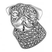 Серебряная брошь с марказитами Swarovski  и бриллиантами