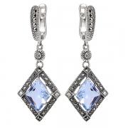Серебряные серьги с голубым кварцем и марказитами Swarovski