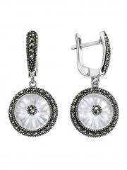 Серебряные серьги с кристаллом и марказитами Сваровски