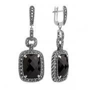 Серебряные серьги с черным ониксом и марказитами Swarovski