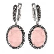 Серебряные серьги с розовым кварцем и марказитами Swarovski