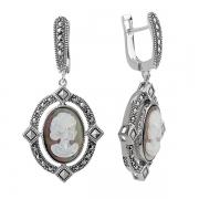Серебряные серьги-камея с перламутром и марказитами