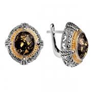 Серебряные серьги с черным ониксом, горным хрусталем, сусальным золотом и марказитами Swarovski