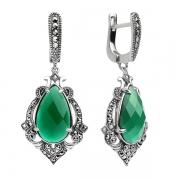 Серебряные серьги с зеленым агатом и марказитами Swarovski