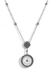 Серебряное колье с кристаллом и марказитами Сваровски