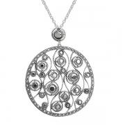 Серебряное колье на цепи с марказитами