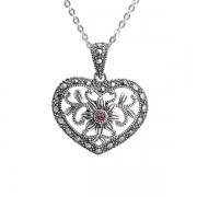 Серебряное колье с розовым кристаллом и марказитами