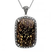Серебряный кулон на цепи с ониксом, горным хрусталем, сусальным золотом и марказитами Swarovski
