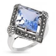 Серебряное кольцо с голубым кварцем и марказитами Swarovski