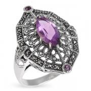 Серебряное кольцо с марказитами Swarovski  и аметистами