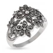 Серебряное кольцо с марказитами Сваровски