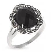 Серебряное кольцо с ониксом и марказитами Swarovski