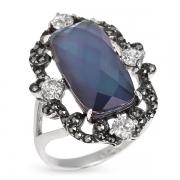 Серебряное кольцо с перламутром, горным хрусталем, фианитами  и марказитами Swarovski
