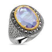 Серебряное кольцо с перламутром, горным хрусталем и  марказитами Swarovski