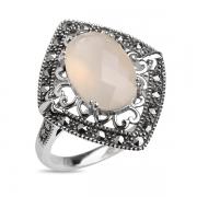 Серебряное кольцо с халцедоном и марказитами Swarovski
