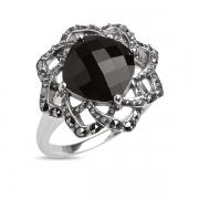 Серебряное кольцо с ониксом и марказитами