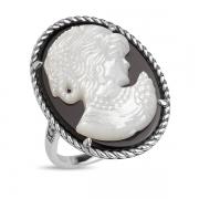 Серебряное кольцо-камея с перламутром ,марказитами и фианитами