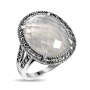 Серебряное кольцо с лунным камнем и марказитами Swarovski