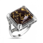 Серебряное кольцо с ониксом, горным хрусталем, сусальным золотом и марказитами Swarovski