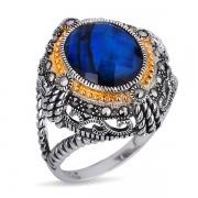 Серебряное кольцо с перламутром, горным хрусталем, марказитами Swarovski и позолотой