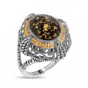 Серебряное кольцо с ониксом, горным хрусталем, сусальным золотом,марказитами Swarovski и позолотой