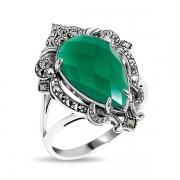 Серебряное кольцо с зеленым агатом и марказитами Swarovski