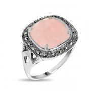 Серебряное кольцо с розовым кварцем и марказитами Swarovski