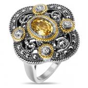 Серебряное кольцо с фианитами и марказитами Swarowski
