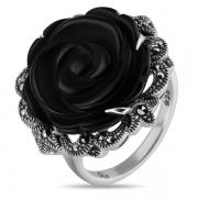 Серебряное кольцо ALEXANDRE VASSILIEV с черным ониксом и марказитами Swarovski
