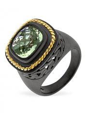 Серебряное кольцо ALEXANDRE VASSILIEV с зеленым аметистом и позолотой