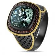 Серебряное кольцо ALEXANDRE VASSILIEV с зеленым аметистом, фианитами и позолотой