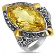 Серебряное кольцо ALEXANDRE VASSILIEV с позолотой, марказитами Swarovski  и фианитом