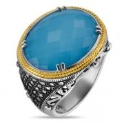 Серебряное кольцо ALEXANDRE VASSILIEV с бирюзой, горным хрусталем и марказитами Swarovski, позолотой
