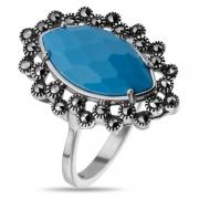 Серебряное кольцо с бирюзой и марказитами Swarowski