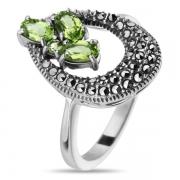 Серебряное кольцо с перидотом и марказитами SWAROWSKI