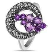 Серебряное кольцо с аметистом и марказитами Swarowski