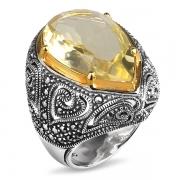 Серебряное кольцо ALEXANDRE VASSILIEV с лимонным кварцем, марказитами Swarovski и позолотой