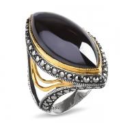 Серебряное кольцо ALEXANDRE VASSILIEV с гематитом, марказитами Swarovski и позолотой