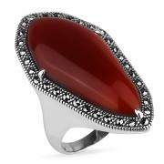 Серебряное кольцо ALEXANDRE VASSILIEV с красным агатом и марказитами Swarovski