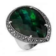 Серебряное кольцо ALEXANDRE VASSILIEV с перламутром, горным хрустелем и марказитами Swarovski
