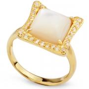 Серебряное кольцо Ombra с перламутром и фианитами