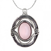 Серебряный кулон Yaffo с розовым кварцем