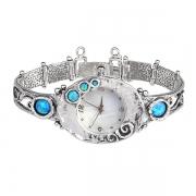 Серебряные часы Yaffo с синт. опалом и перламутровым циферблатом