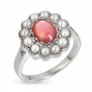 Серебряное кольцо с перламутром, иск. микрожемчугом