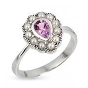Серебряное кольцо с аметистом, иск. микрожемчугом