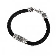 Мужской кожаный браслет с серебром