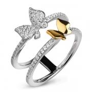 Серебряное кольцо Sandara Ice с фианитом и позолотой