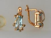 Золотые серьги с вставкой топаз